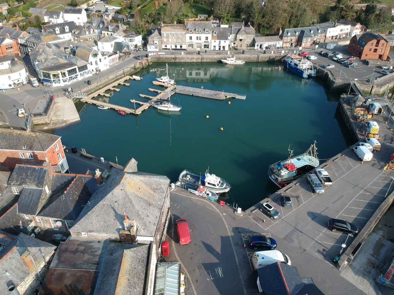 aerial view of padstow harbour